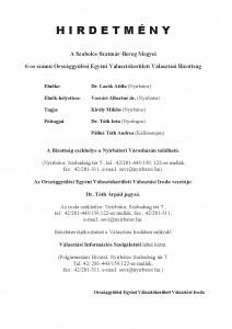 Az OEVB tagjairól és elérhetőségéről szóló hirdetmény