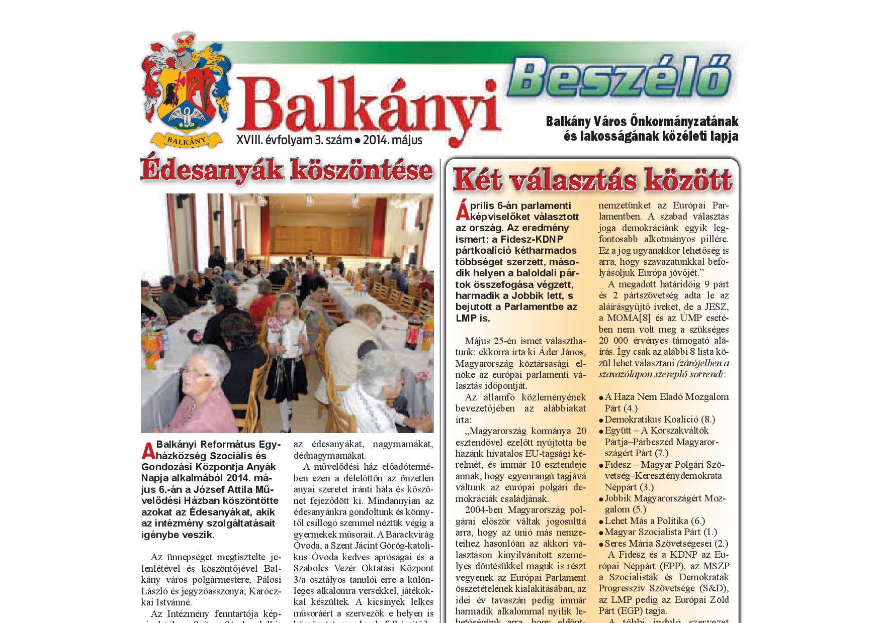 Balkányi Beszélő – 2014. május